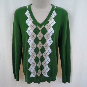 Tommy Hilfiger womens sweater Size M Green argyle